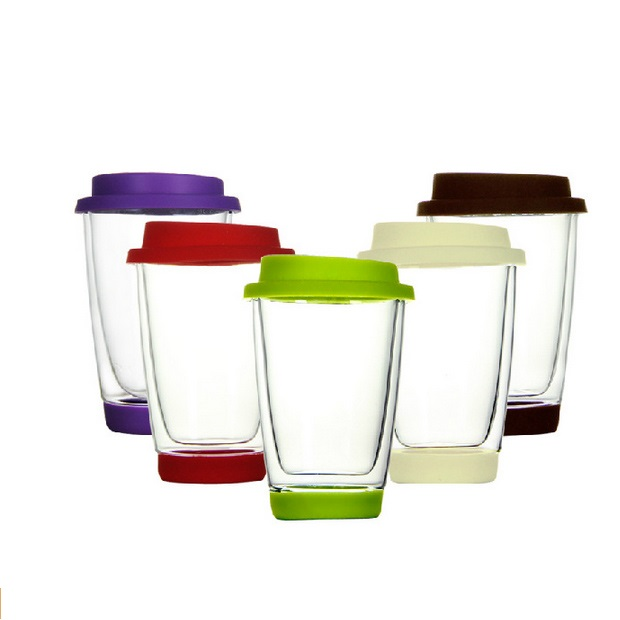 Thermos Glass Milk Tea Tumbler Silicon Lid And Base Double Layer Glass <strong>Coffee</strong> To Go Cup 12oz
