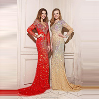 Red Royal Blue Crystals Mermaid Evening Dresses Long Sleeve Deep V-Neck big ass in evening dress photos