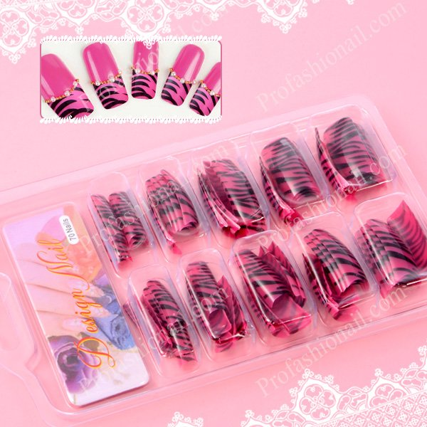 Free Shipping 70pcs HOT PINK ZEBRA FRENCH ACRYLIC GEL NAIL ...