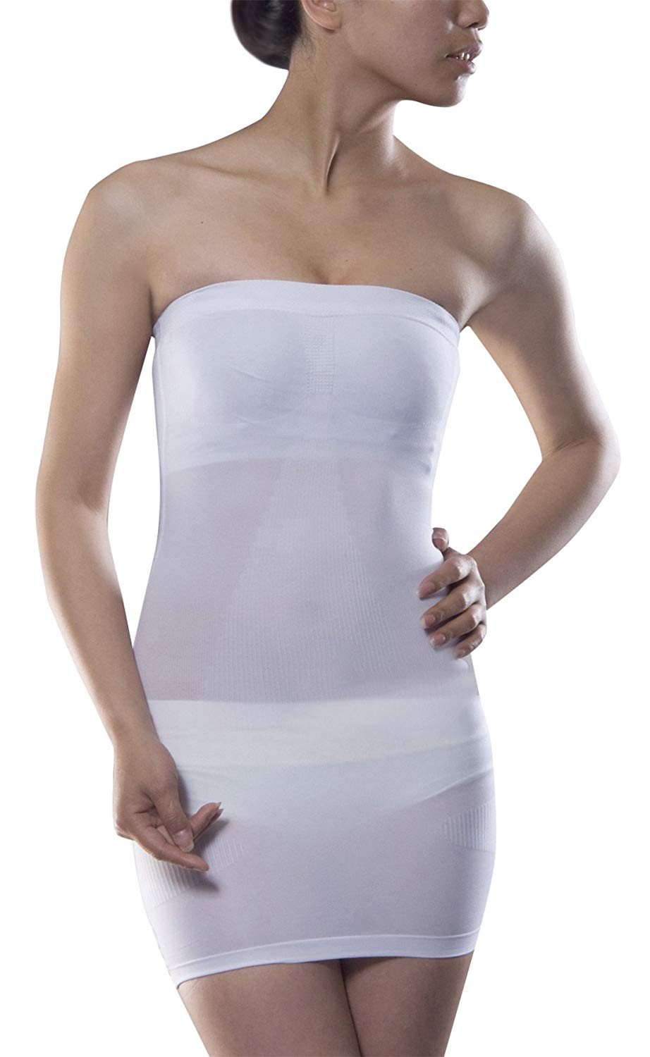 e7a70757080b4 Get Quotations · Niyatree Women s Slim Under Dress Full Body Slip Shaper  Strapless Seamless Tube Shapewear