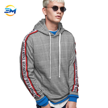 2019 China custom striped printing on the sleeve grey striped sweatshirt pullover hoodie with kangaroo pocket for man clothing