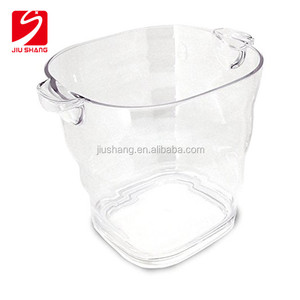 Transparent plastic acrylic cube beer ice bucket with handle