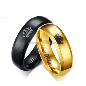 Cheap gold and black plated stainless steel custom printed wedding ring set free sample