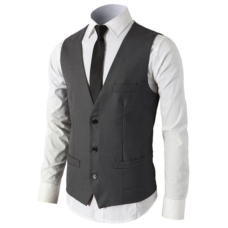 Free Shipping Hot sell new design men V-neck waistcoat suit vest M-2XL