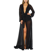 Donne di estate Costume Da Bagno Bikini Cover Up Sexy Beach Cover Up Vestito Lungo Chiffon Elegante Solid Beach Costume Da Bagno tunica caftano