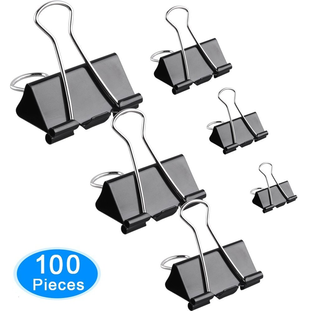 AMNADOF Binder Clips, 100 Pcs Paper Clamp Clips Assorted 6 Sizes (Black)