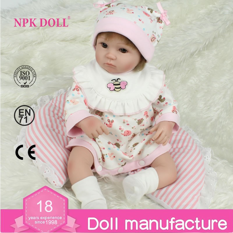45cm Reborn Baby <strong>Dolls</strong> Handmade Soft Vinyl Silicone real like Girl Christmas Gift Wholesale in stock toys