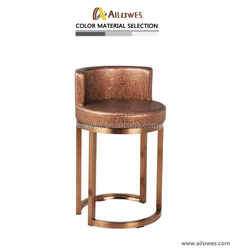 low back office chair stainless steel bar stool rose gold