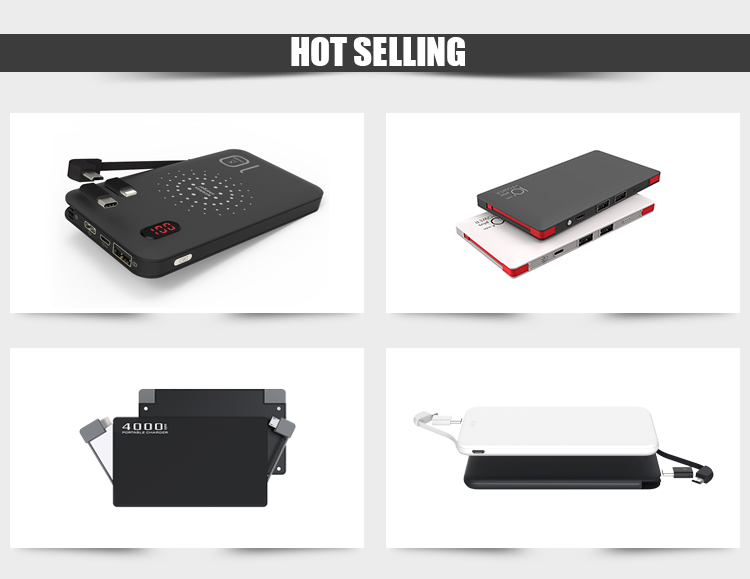 New Model Two built-in cable Customized Power Banks Portable OEM 5000mAh Powerbank