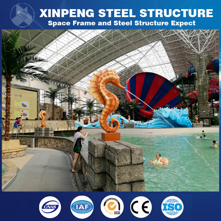 Longspan Steel Structure Water Park House Roof For Constant Temperature Water Theme Park