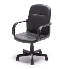 Mid-Back Office Chair PU Leather Ergonomic Desk Black