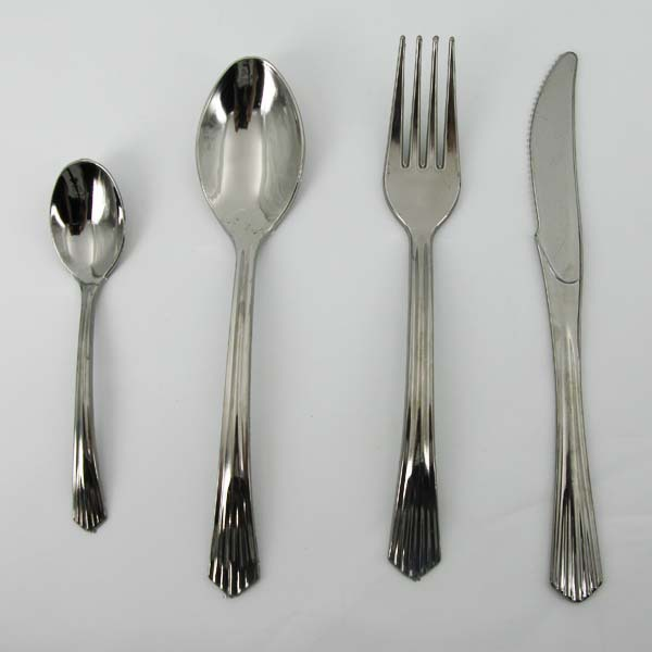 Disposable Silver Salad Spoon and Fork