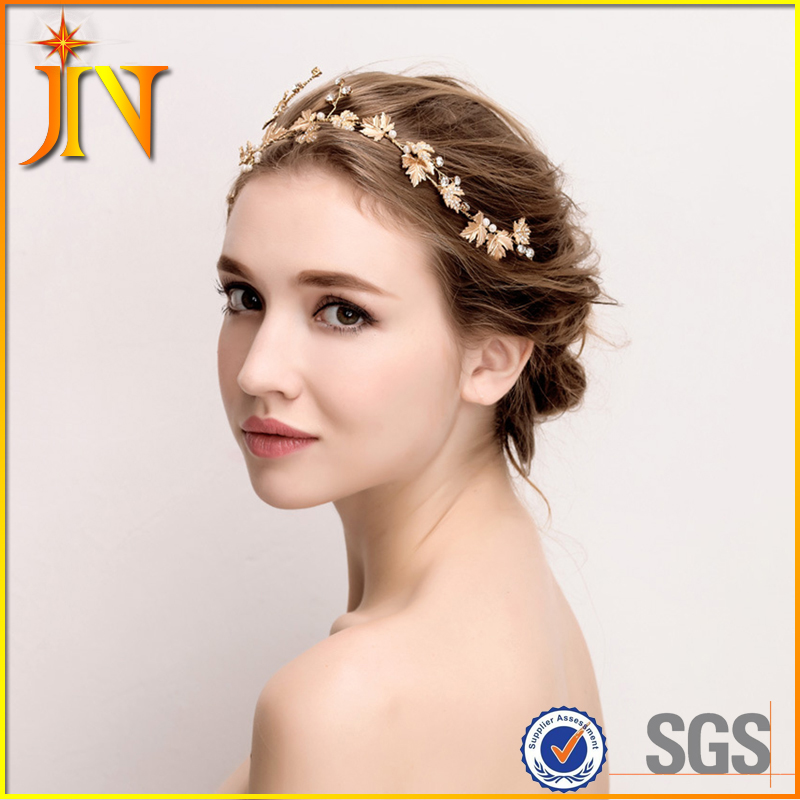 HB0045 JN Wedding Bridal Tiaras Bridesmaid gifts Headband Crystal Pearls Metal Crown Hair Accessories princess crown girls