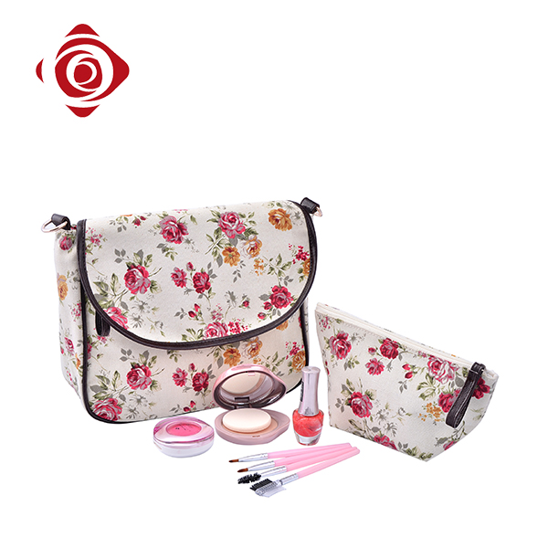 OEM floral printed hanging portable cosmetic canvas toiletry bag