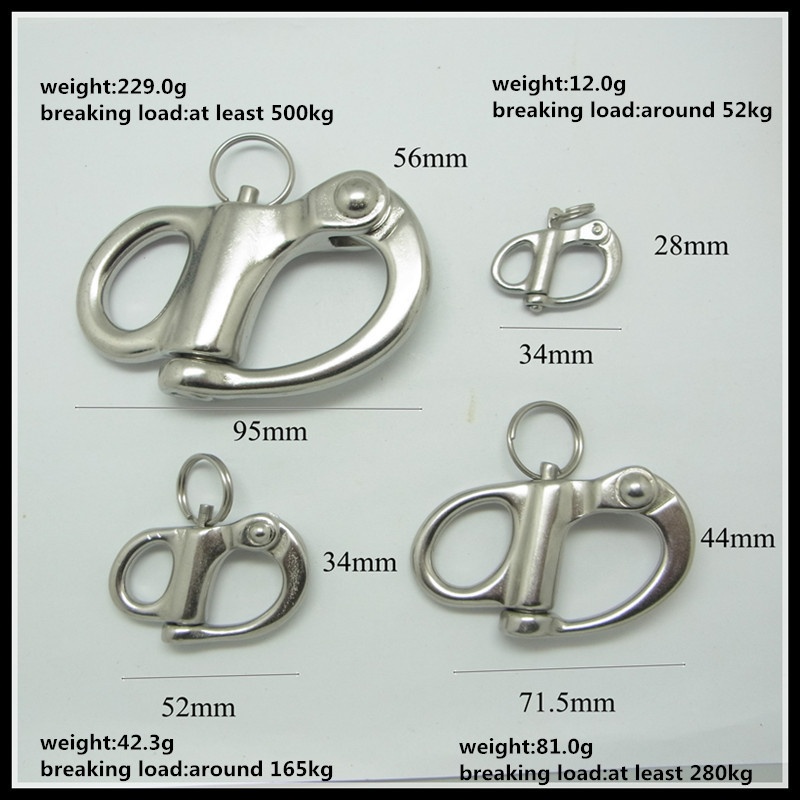 Manufactory 52mm Stainless Steel Snap Swivel Shackle Fixed Eye For