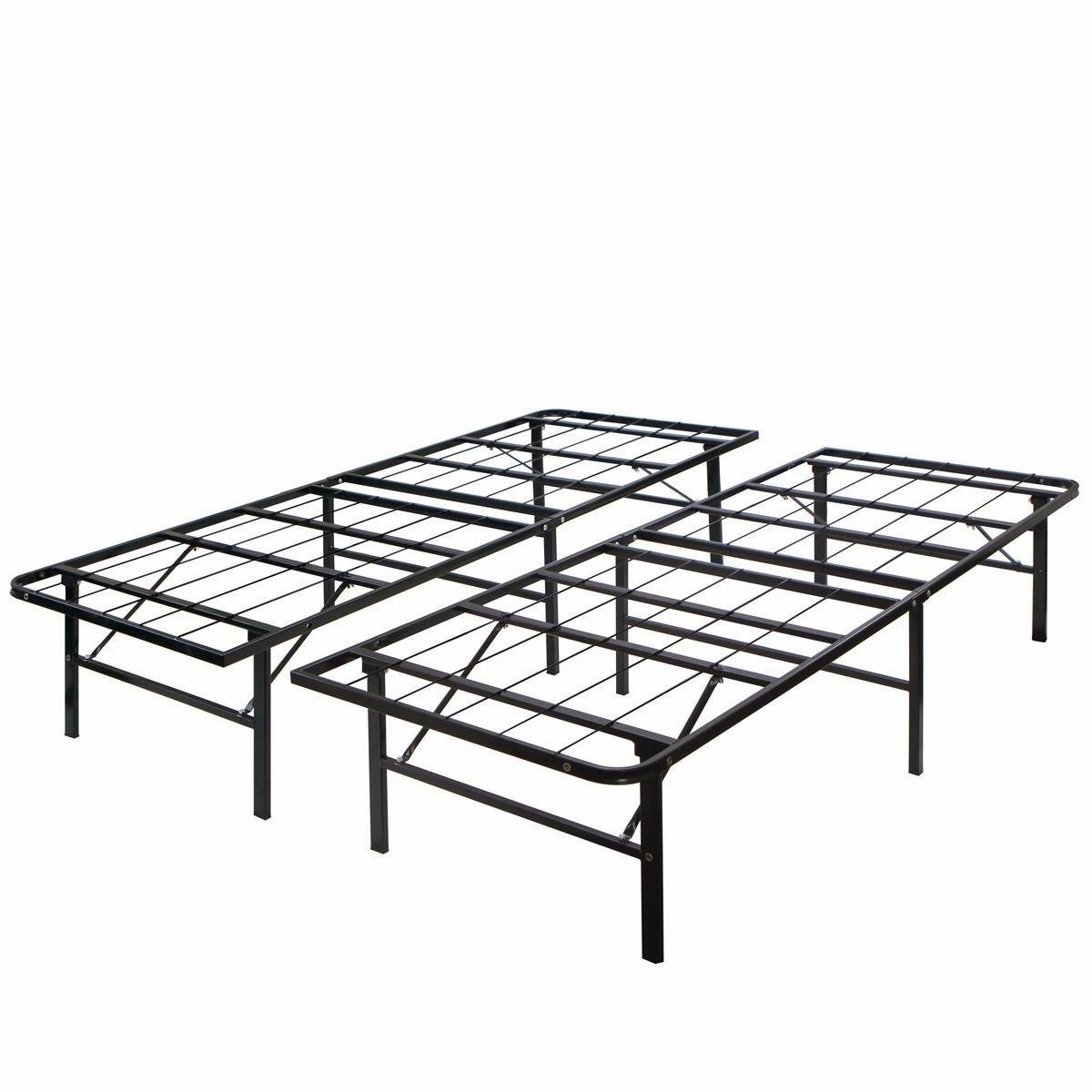 Modern King Size Bi-fold Folding Platform Metal Bed Frame Mattress Foundation