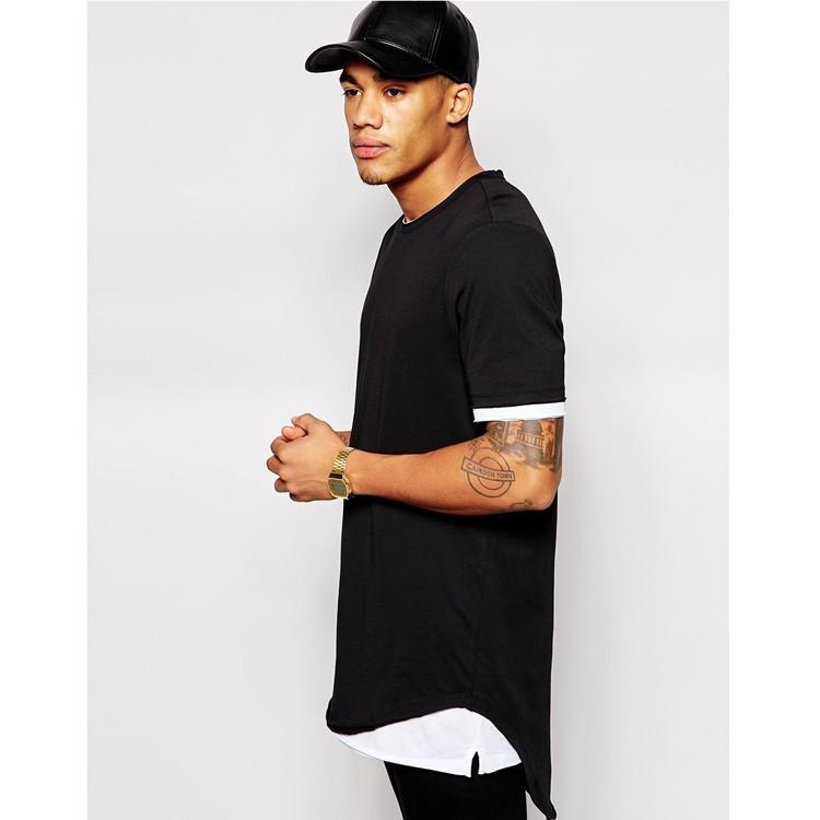 Stylish Mens Black T Shirt,Long Line T Shirt With Double Hem,New ...