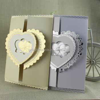 Großhandel Gold Silber Folie Herz Abdeckung Hochzeit Einladungskarten Modelle Buy Hochzeit Einladung Kartenherz Abdeckung Hochzeit Einladung