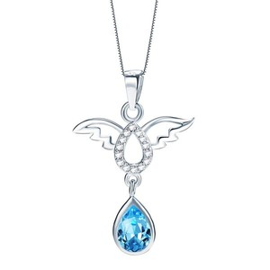 Women Neck Accessories Jewelry Pendant Teardrop Silver Meaningful Symbol Blue Natural Crystal Stone Pendant with Angel Wing