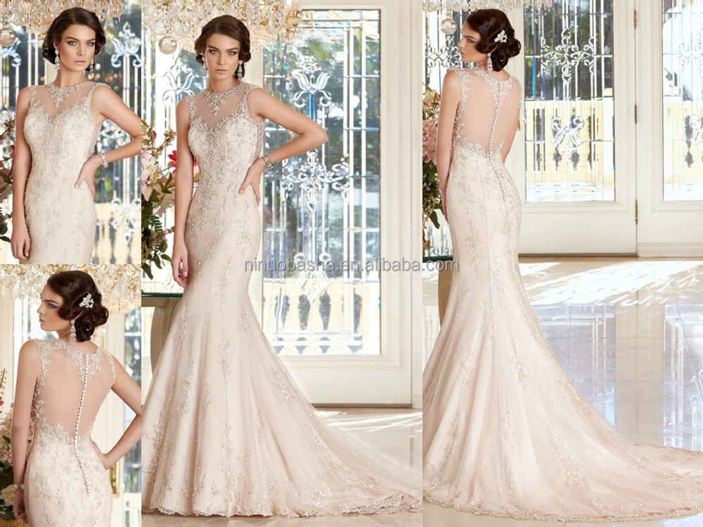 Famous Designer 2015 Sexy Mermaid Wedding Dress O-neck Sleeveless ...