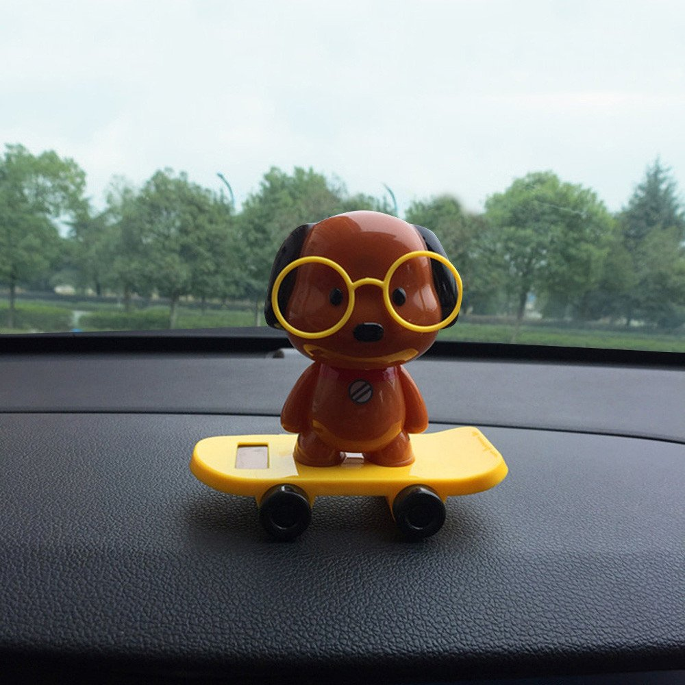 Gessppo Solar Powered Dancing Toys Swinging Brown Dog Dancer Toy Car Decor
