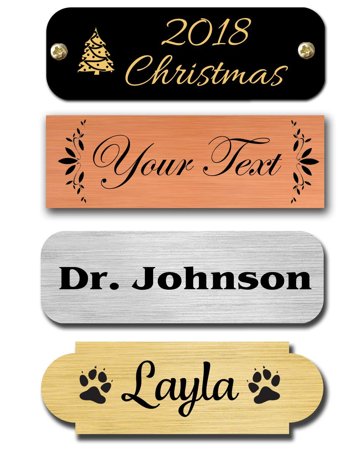 """0.5"""" H x 1.5"""" W, Brass Nameplates, Metal Plate, Personalized, Custom Engraved Tag, Name Plaque, Square or Round Corners Made in USA (Satin Brass)"""