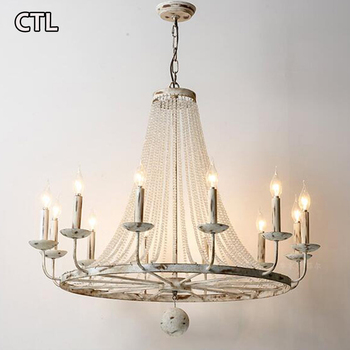 American E14 candle chandelier French personality living room  pendant light creative retro white wrought iron crystal lamp