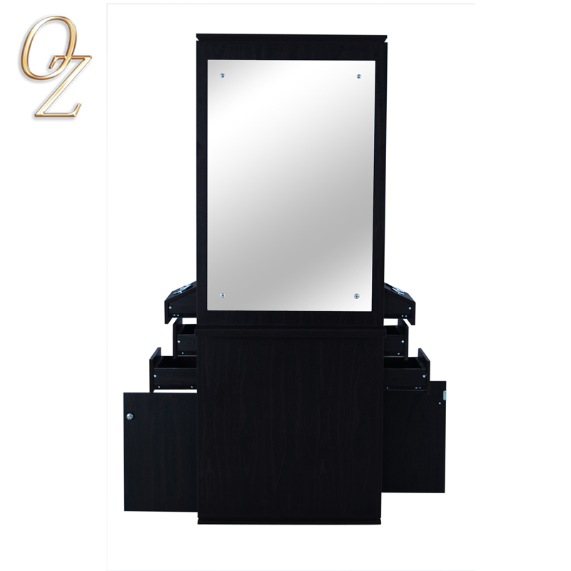 Australian Standard Barber Shop Double Sided Black Melamine Hair Salon Mirrors Hair Styling Stations Manufacturer