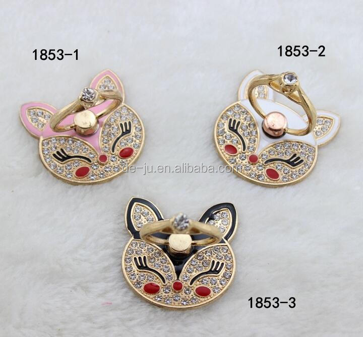 Smile Cat Metal Finger Ring Cell Phone