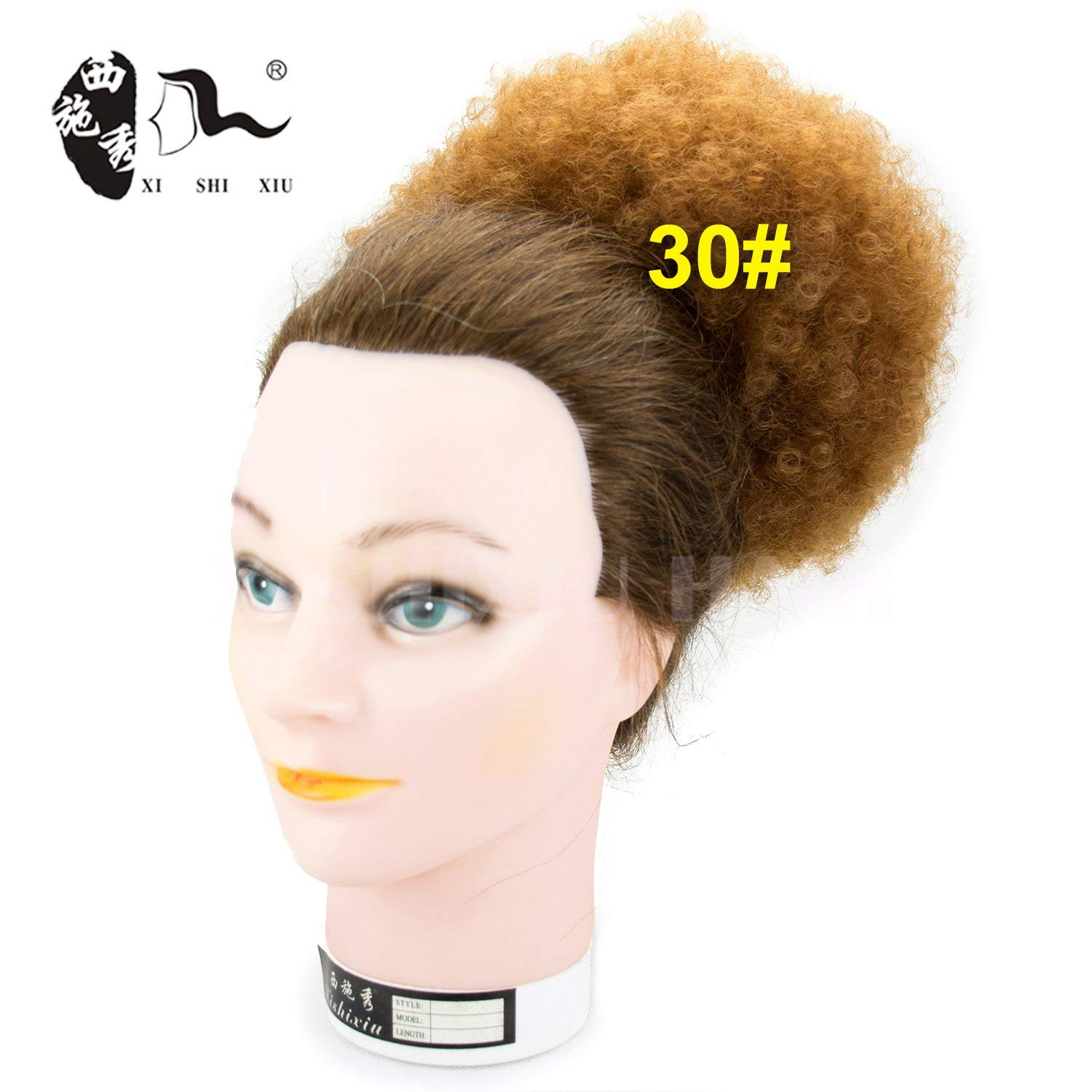 Afro Wig Synthetic Curly Hair Ponytail African American Short Afro Kinky Curly Wrap Synthetic Drawstring Puff Ponytail Hair Extensions Wig With Clips (30#)