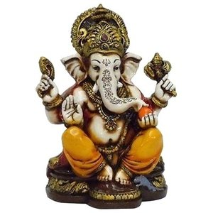 polyresin indian god statue A colored & Gold statue of Lord Ganesh Ganpati Elephant Hindu God