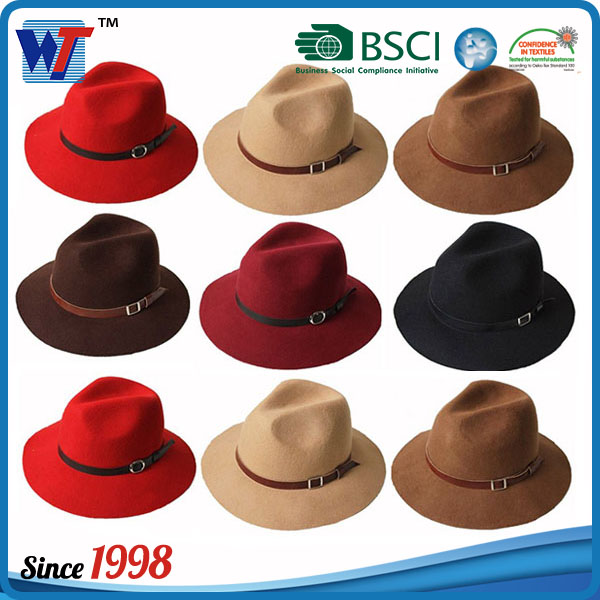 cc053e0af306b Wholesale Lady fedora Wool Felt Wide Brim Brown Fedora hats for women