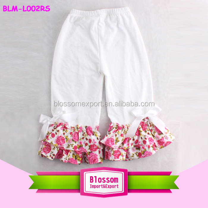 Newest girls image infant Persnickety remakes children clothes white floral ruffle pant girls ruffle baby leggings