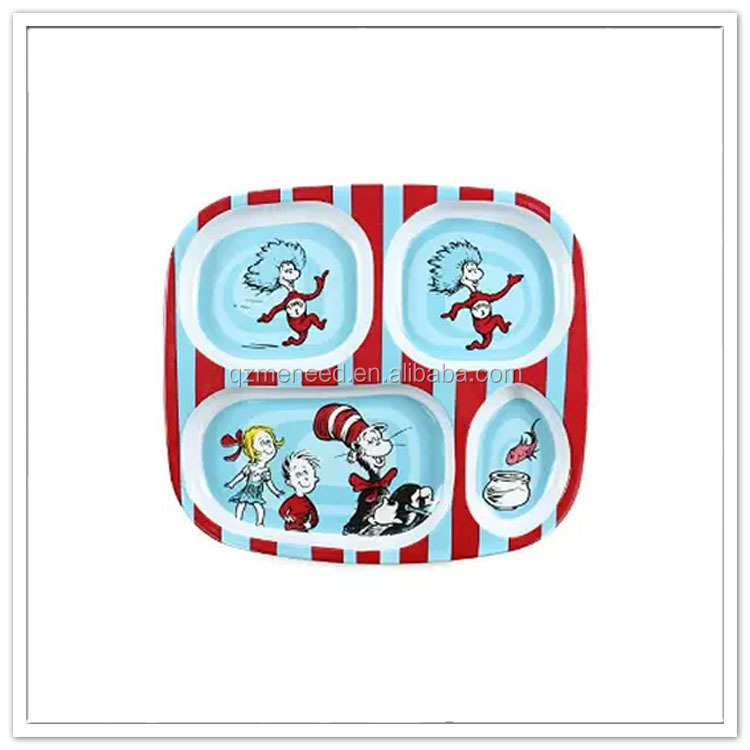 4 sections cute cartoon print divided melamine dinner plates for kids
