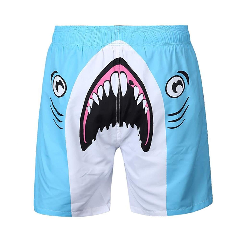 311d2c1ad3a60 Get Quotations · Winsummer Mens Shark Printed Board Shorts Cool Quick Dry  Beachwear Swim Shorts Hawaiian Swim Trunks with