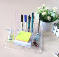Crystal Office Desk Pen Holder , Transparent Pen Holder With LCD Clock