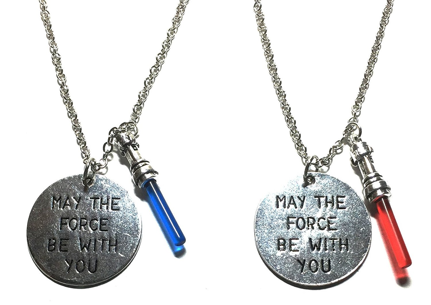 """Star Wars Dark Side & Light Side """" May The Force Be With You """" Charm Necklace with 20"""" Chain"""