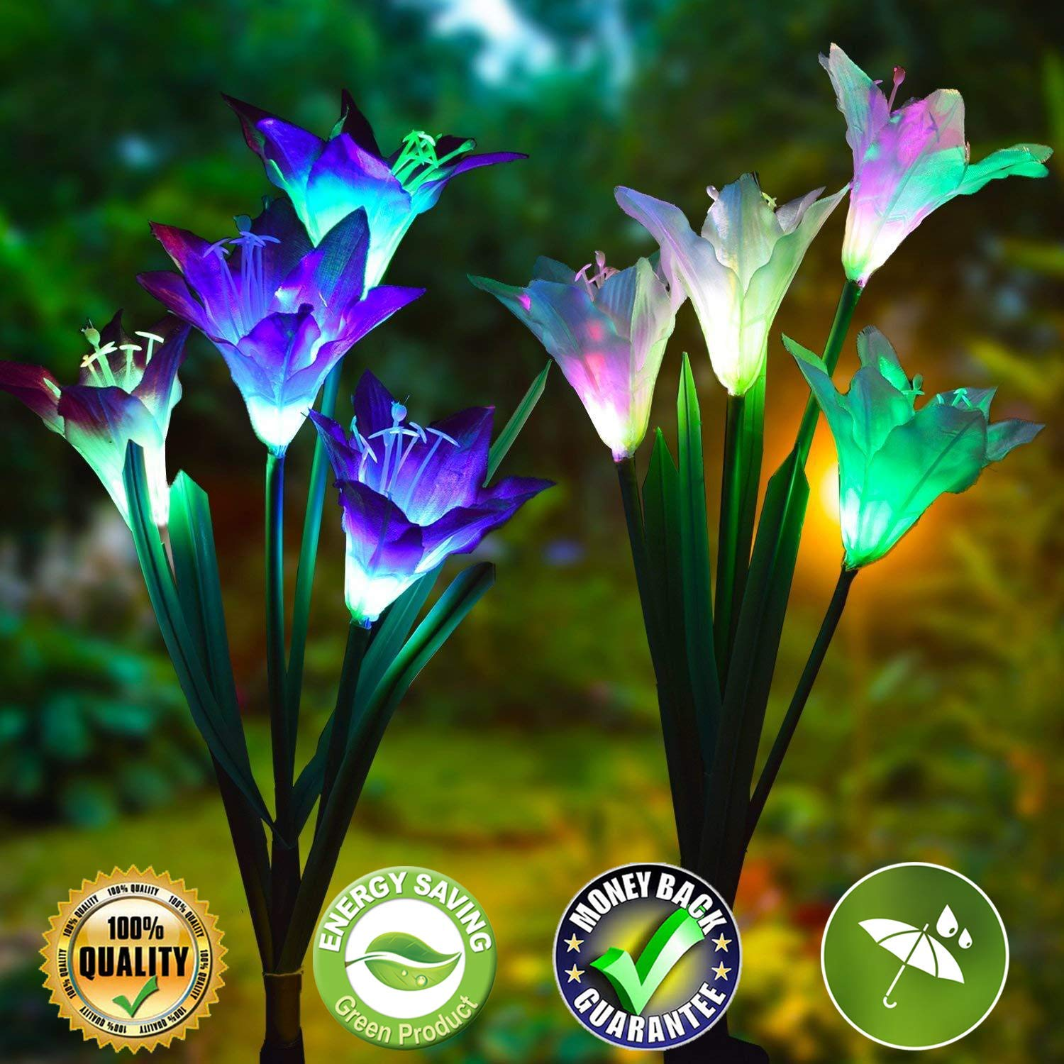Solar Lights Outdoor Decorative Garden Solar Lights Outdoor Solar Garden Stake Lights 2 Pack Outdoor Garden Solar Lights with 8 Lily Flowers Multi-color Changing Waterproof LED Solar Flower Lights