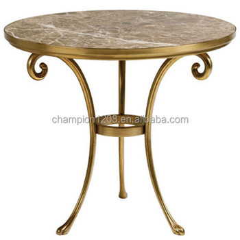 Great Round Marble Top Tea Table, Teapoy With Broze Brass Metal Legs