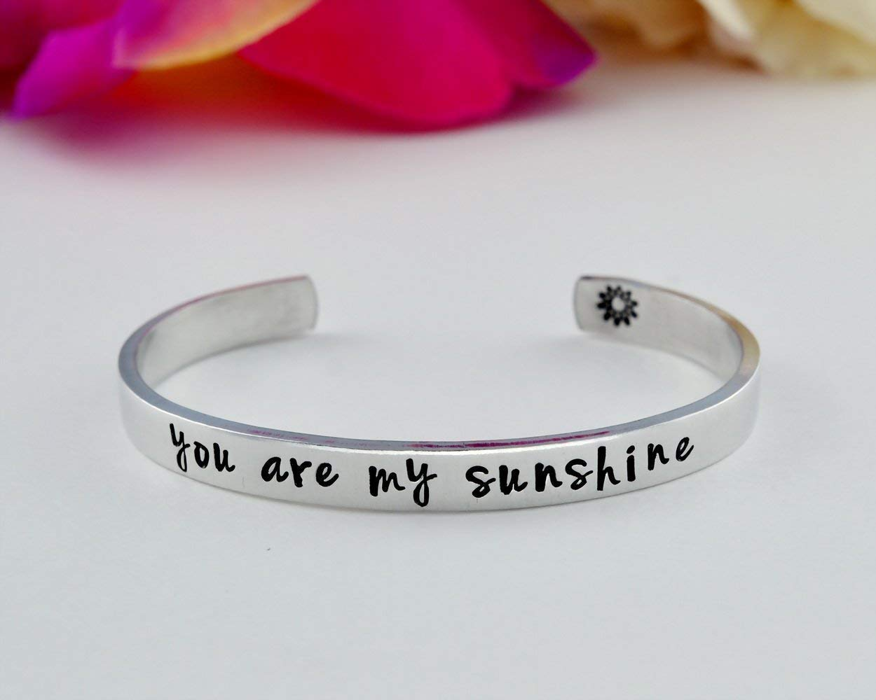 you are my sunshine - Hand Stamped Aluminum Cuff Bracelet, Mom Daughter Sisters Forever Family Love Mother's Day Gift, Best Friends BFF Personalized Gift