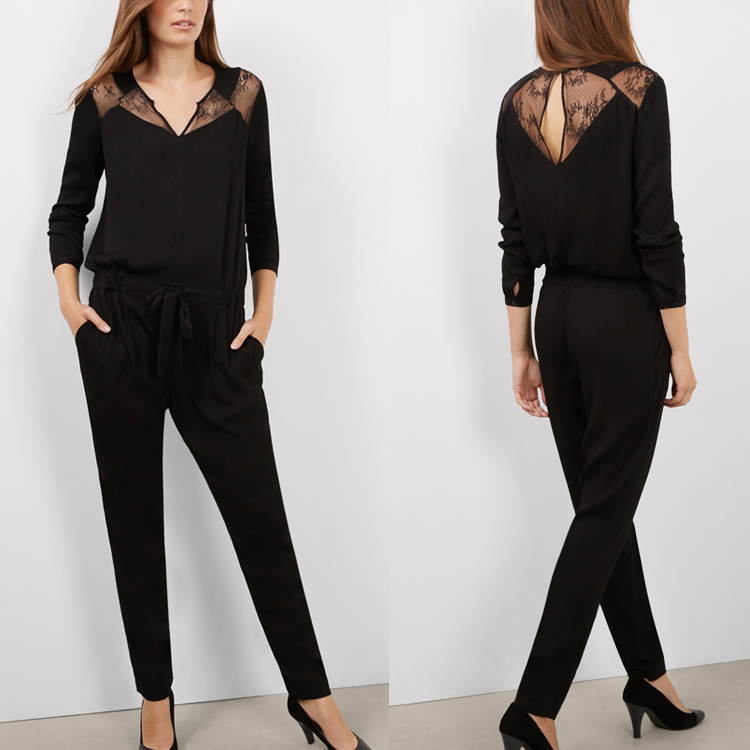 Ladies Office Wear Clothing Long Sleeve Black Jumpsuit For Women