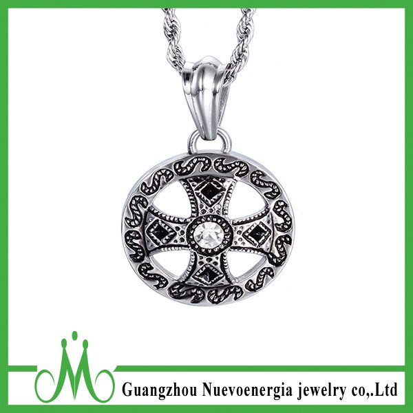 Stainless Steel Disc Necklace Letter S Diamond Stone Jewelry Cross Pendant Necklace Design