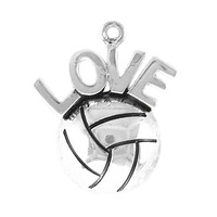 Antique Silver Plated Love Volleyball Charms Bracelets Making Accessories