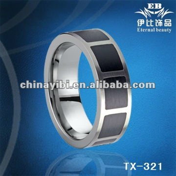 8mm black epoxy resin tungsten ring, tungsten ring jewelry