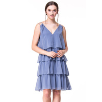 Fast Fashion Design Women Clothing Manufacturer Round Neck Strappy V Neck Ladies Party Dress
