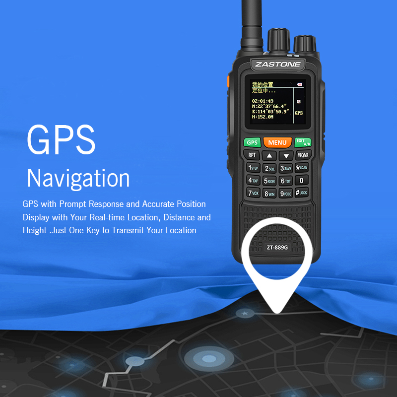 Best New Portable Two Way 10w 999ch Lcd GSM Walkie Talkie With Latituade Longitude And Altitude Zastone ZT889G