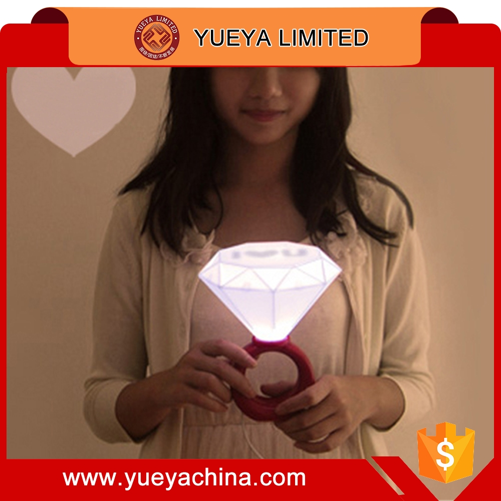 Diamond Ring Bedside LED Lamp Night Light USB Couples Lover Warm Wedding Red