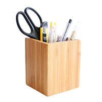 Bamboo Wood Desktop Pen Pencil Holder, Makeup Brush Cup, Office Supplies Organizer Holder Desktop