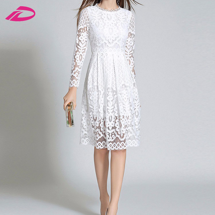 White Lace Crochet Casual Long Sleeve knee Length Autumn Clothes Women's Dress