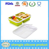 BPA free silicone takeaway food container / take away lunch box/food warmer lunch box